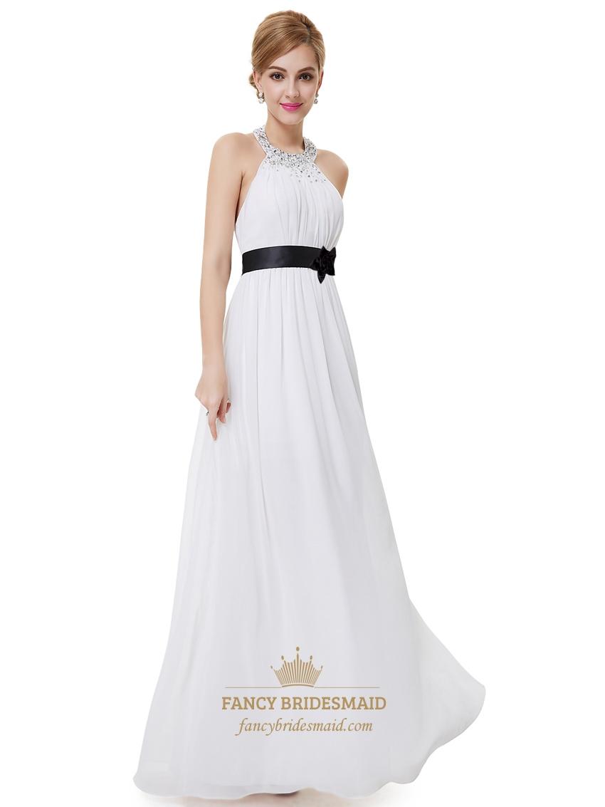 White halter neck beaded chiffon bridesmaid dress with for White chiffon wedding dress