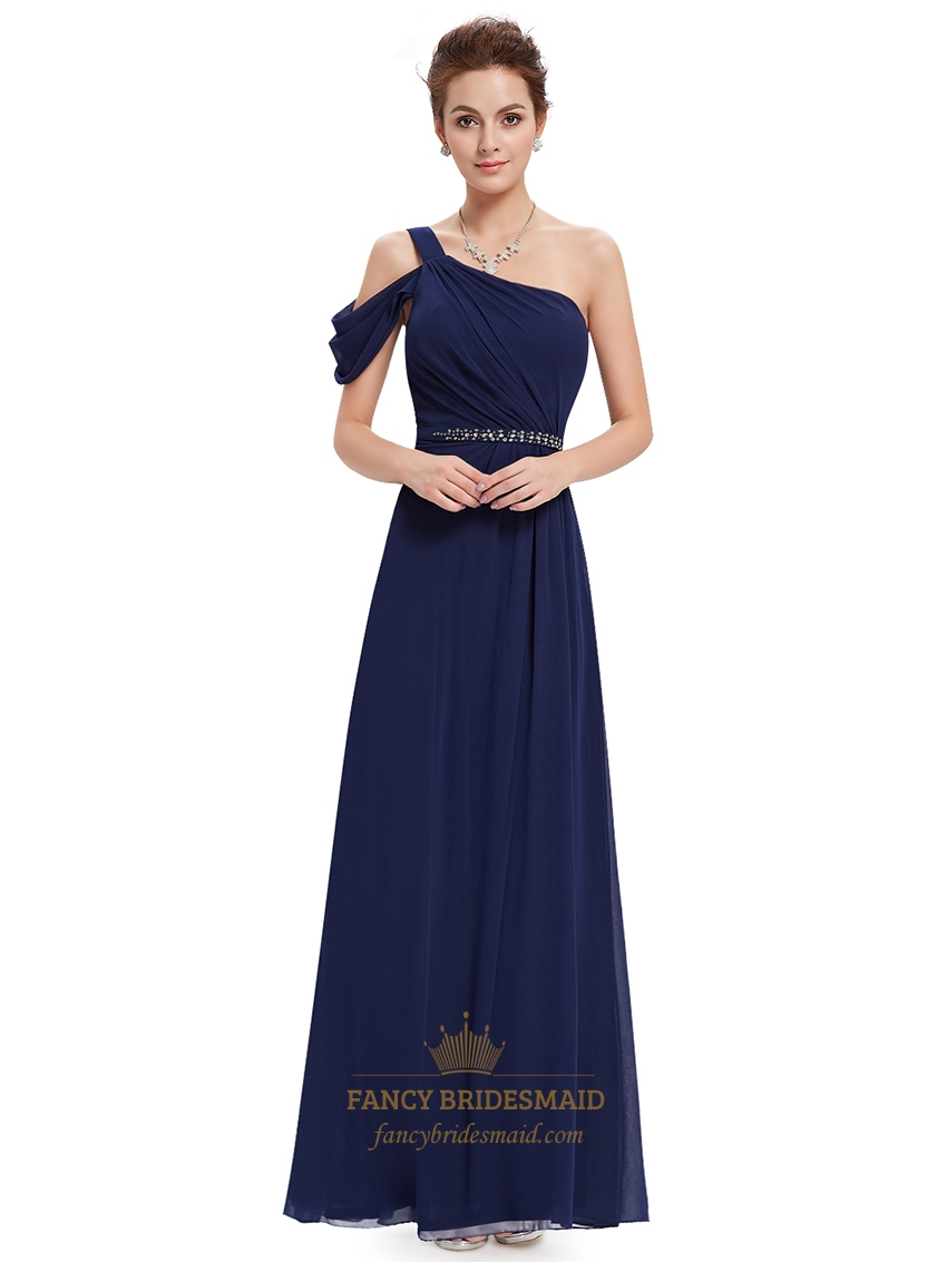 Navy blue one shoulder chiffon long bridesmaid dress with for Navy blue wedding dress