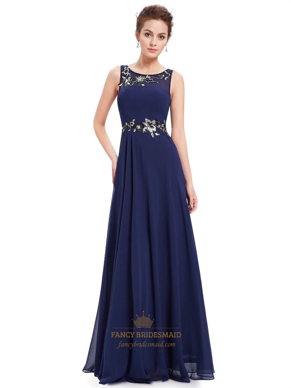 Navy blue a line chiffon floor length formal dress with for Floor length gowns