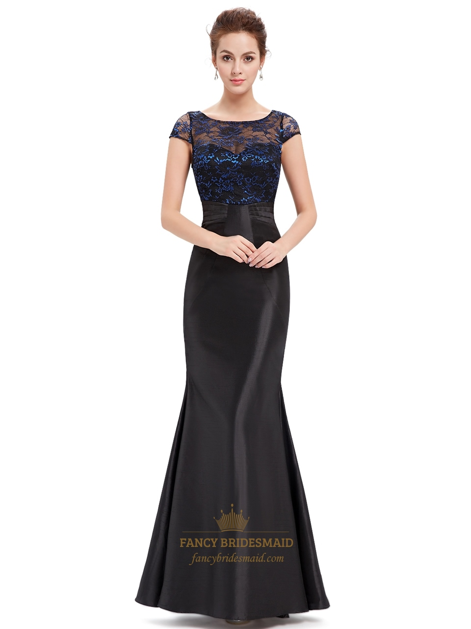 Black Bridesmaid Dresses With Cap Sleeves : Black mermaid lace bodice illusion neckline prom dress