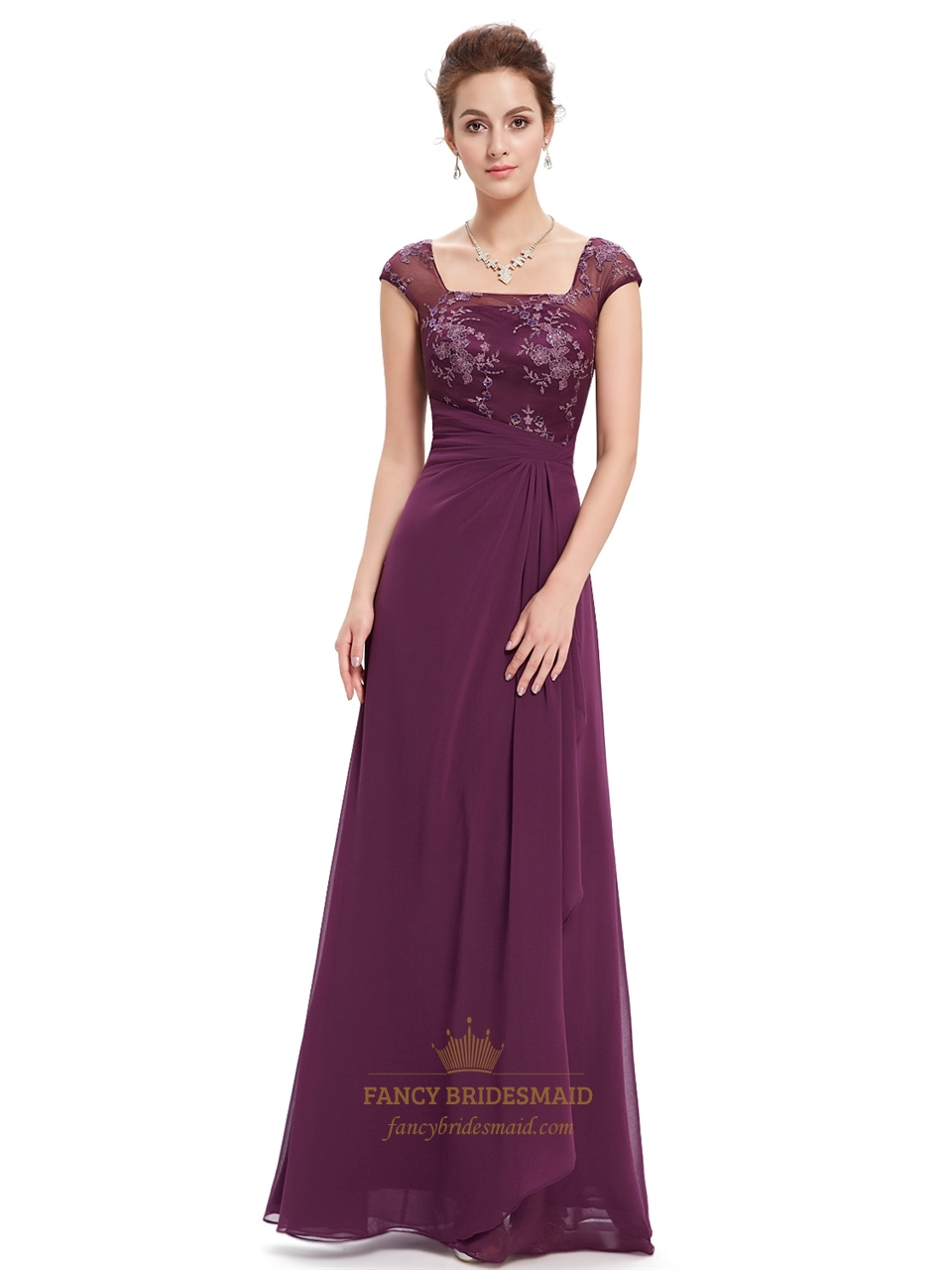 grape chiffon prom dresses