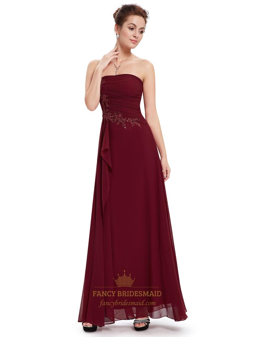 Burgundy Chiffon Strapless Bridesmaid Dresses With Applique Detail | Fancy Bridesmaid Dresses