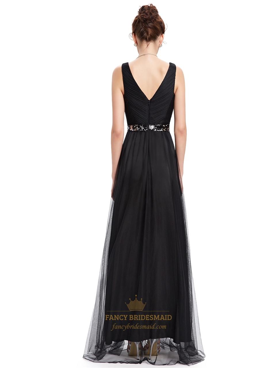 Black tulle v neck sleeveless floor length prom dress with for Black tulle wedding dress
