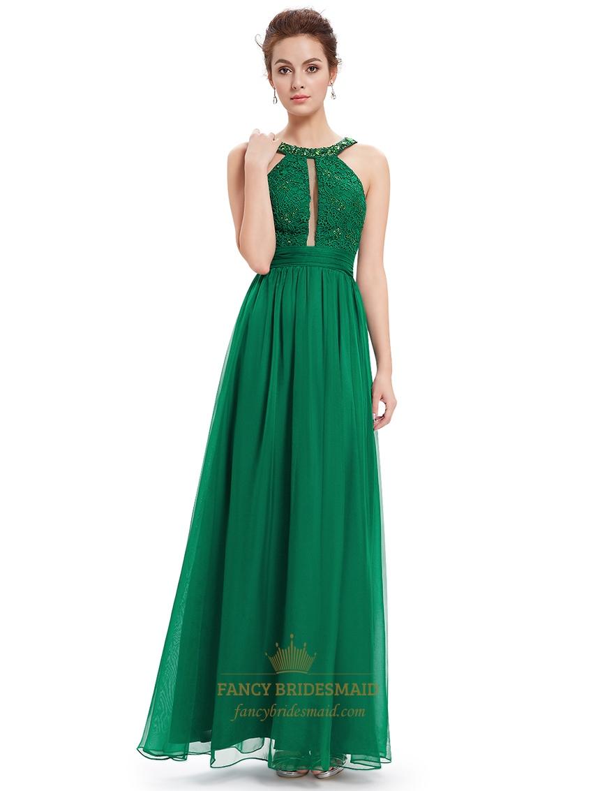 Green Lace Bodice Sleeveless Chiffon Prom Dress With ...