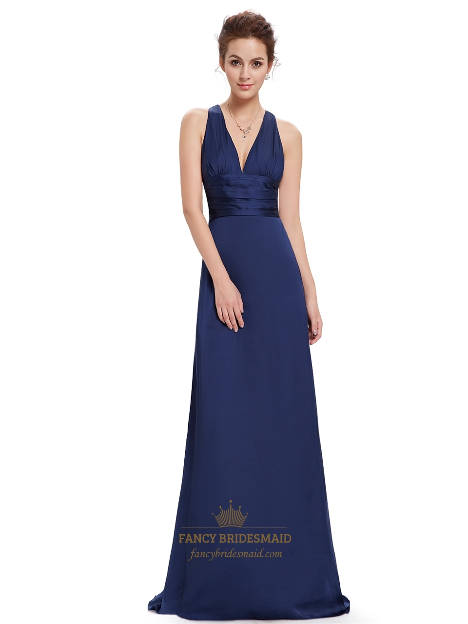 Navy blue v neck sheath criss cross back bridesmaid for Navy blue dresses for wedding