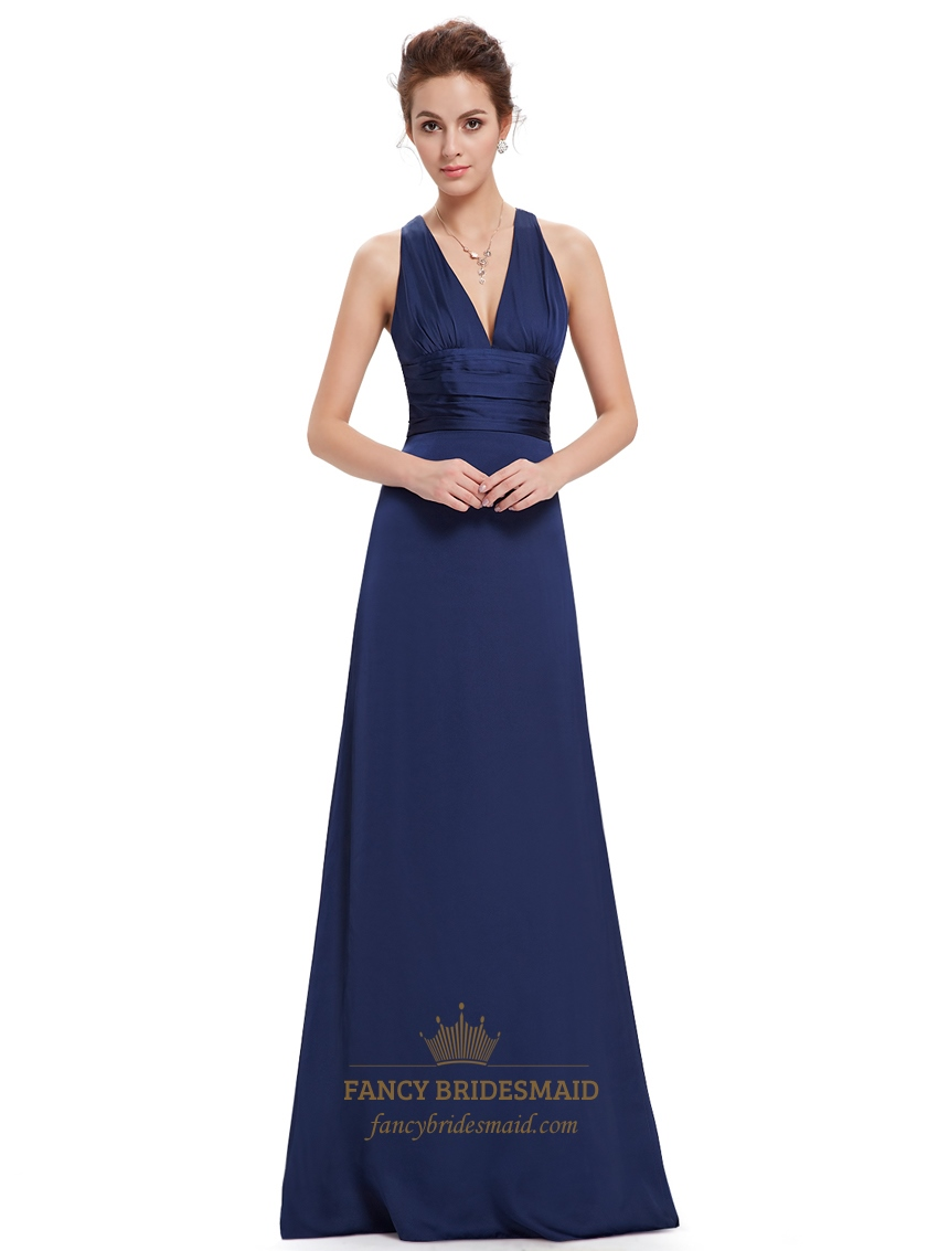 Navy blue v neck sheath criss cross back bridesmaid for Navy blue wedding dress