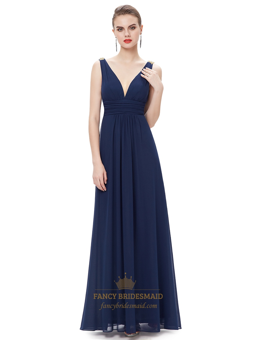 Navy Blue Contrast V Neck Chiffon Prom Dress With Beaded ...