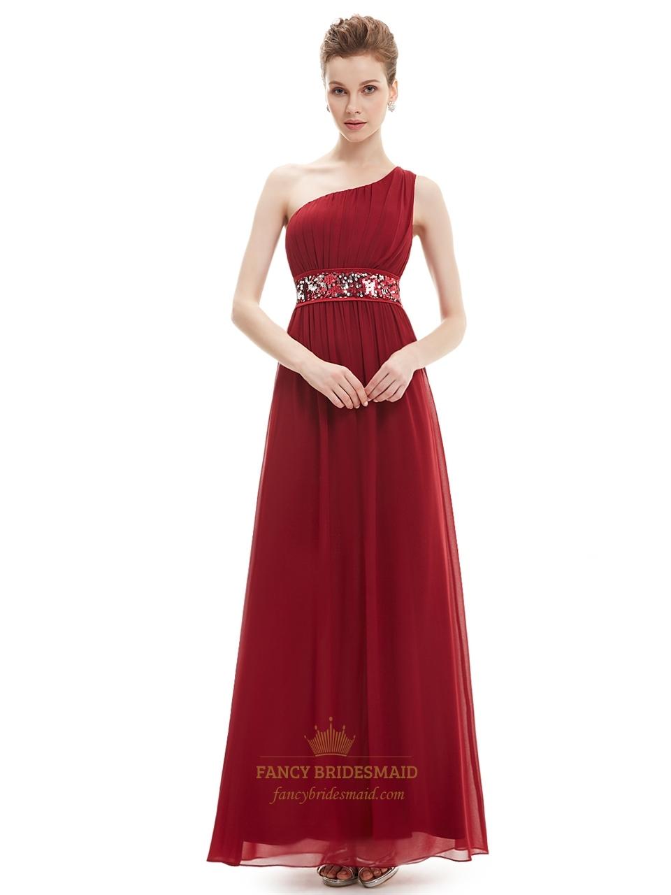 burgundy one shoulder chiffon bridesmaid dresses with