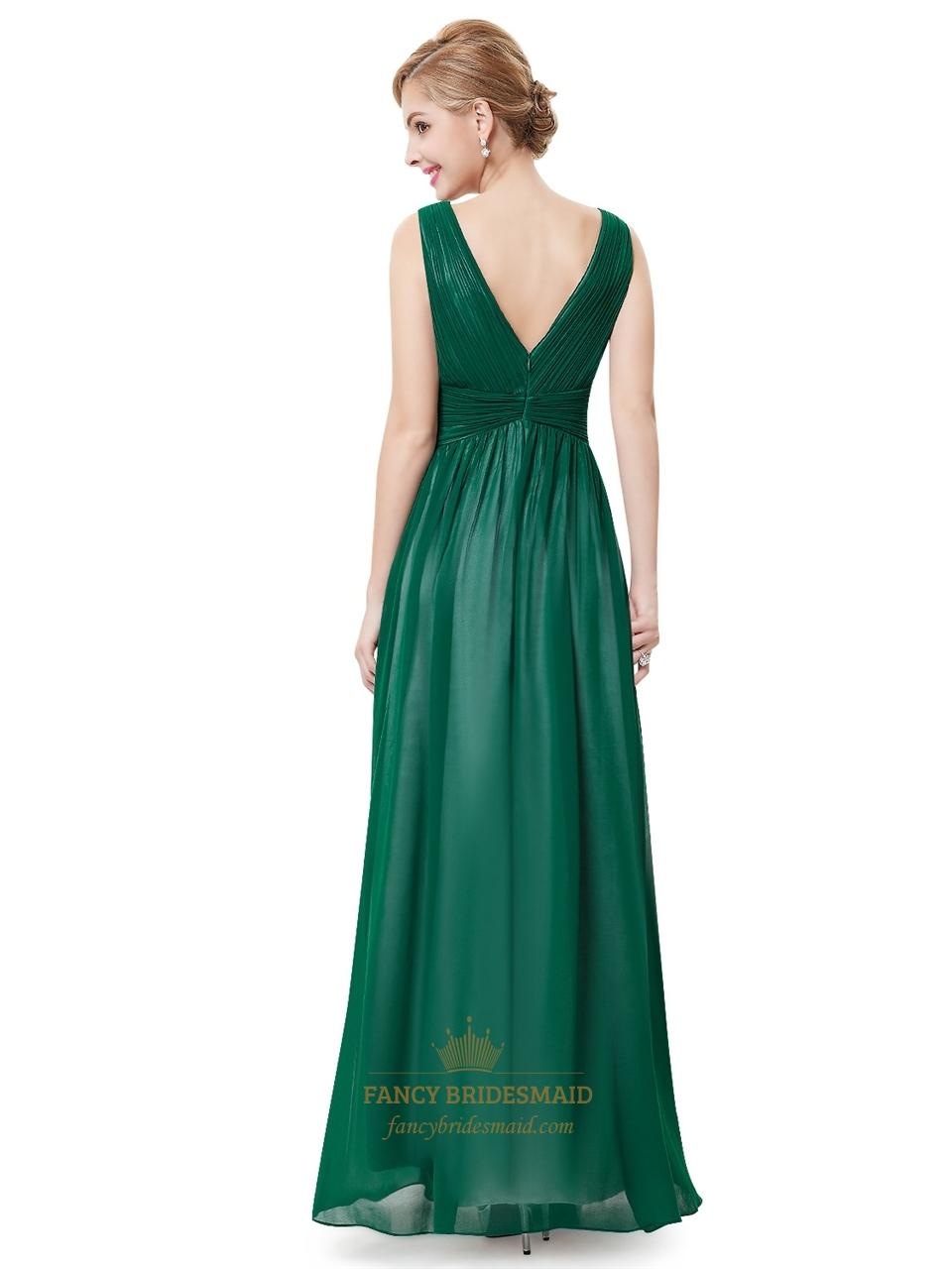 Elegant Emerald Green Sleeveless Chiffon Prom Dresses With ...
