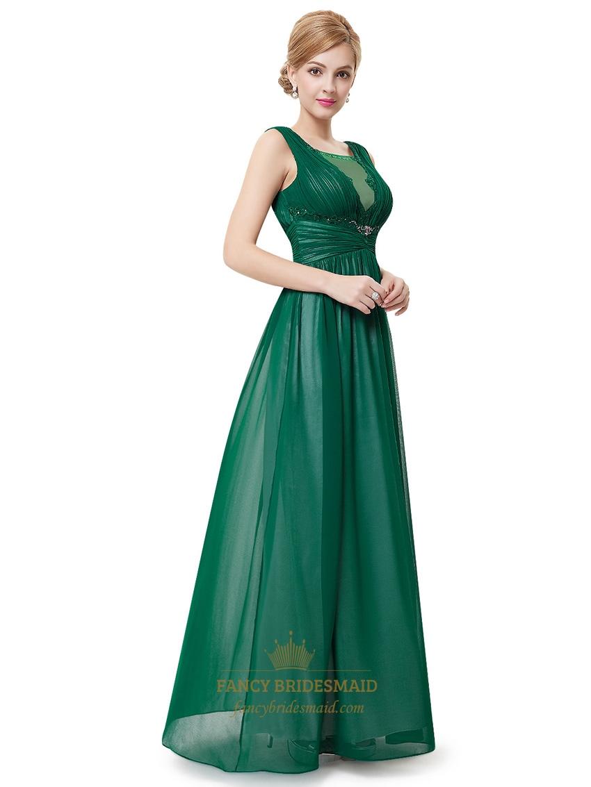 Elegant Emerald Green Sleeveless Chiffon Prom Dresses With