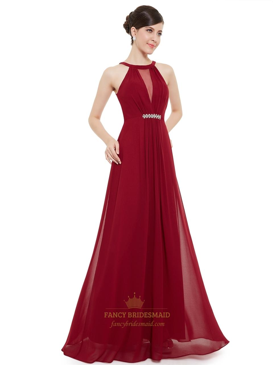 Burgundy jewelled neckline chiffon prom dress with beaded for Prom dress as wedding dress