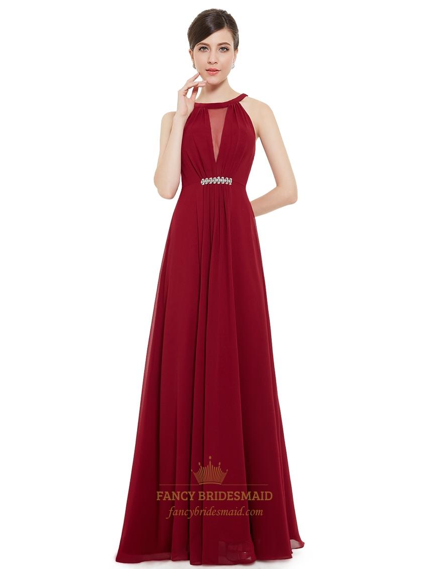 Burgundy Jewelled Neckline Chiffon Prom Dress With Beaded Detail | Fancy Bridesmaid Dresses