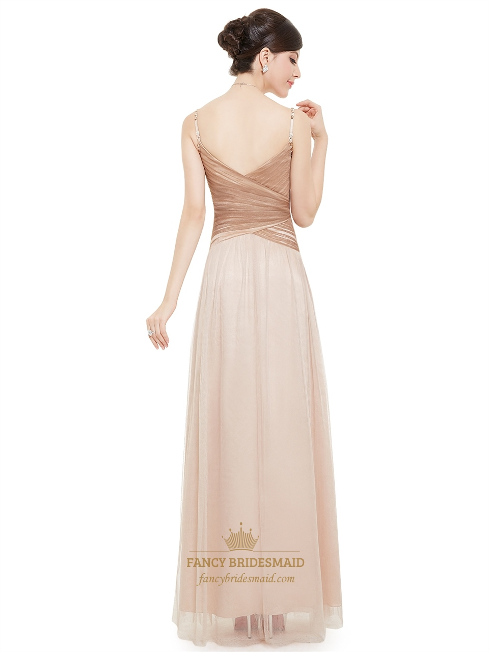 Champagne Spaghetti Strap V Neck Tulle Prom Dress With