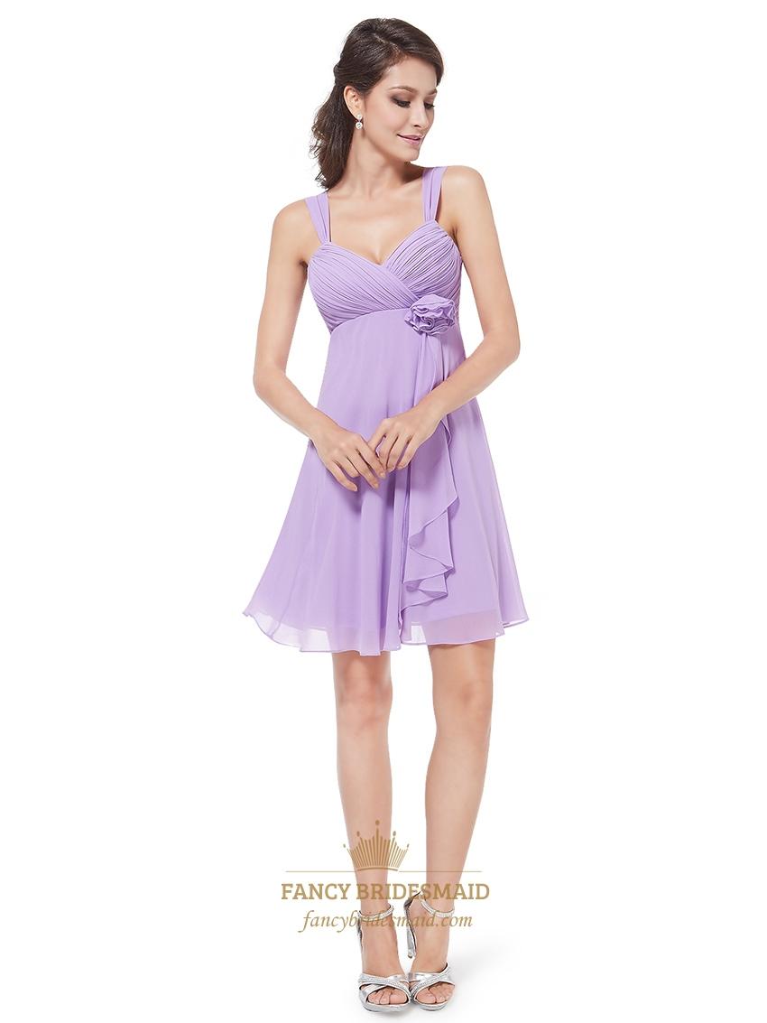 lilac chiffon empire knee length bridesmaid dresses with