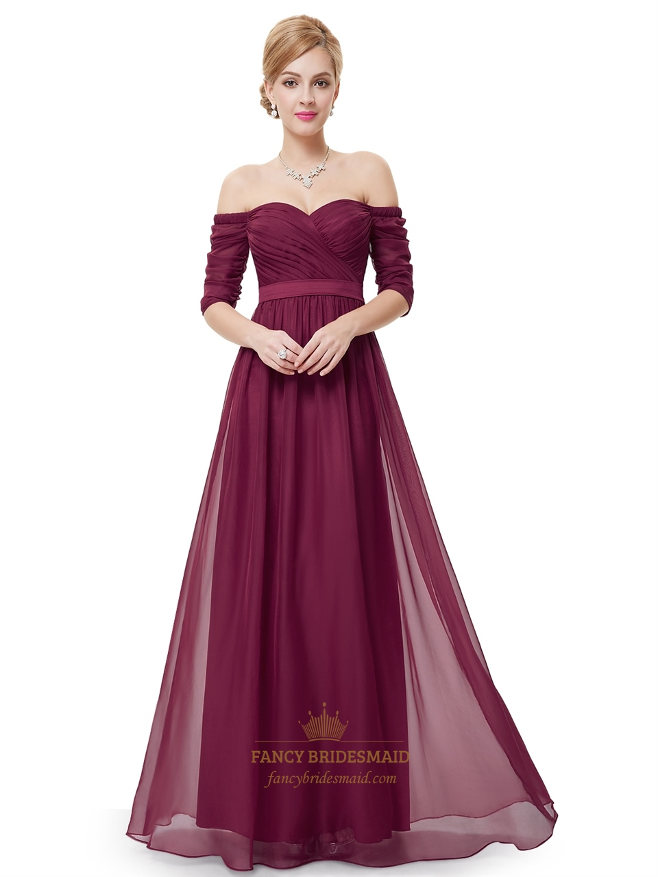 5a61fb04f5 Burgundy Off The Shoulder Chiffon Ruched Prom Dress With Half Sleeves SKU  -NW1252