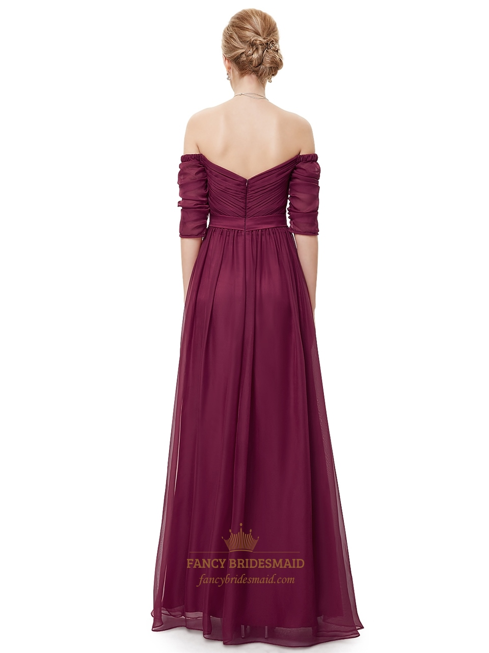 Burgundy Off The Shoulder Chiffon Ruched Prom Dress With Half Sleeves | Fancy Bridesmaid Dresses