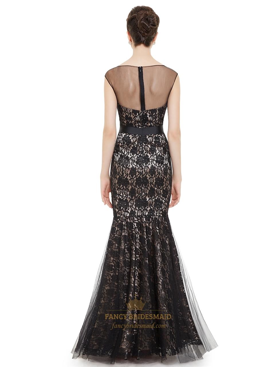 Black Illusion Neckline Mermaid Lace Prom Dress With Cap