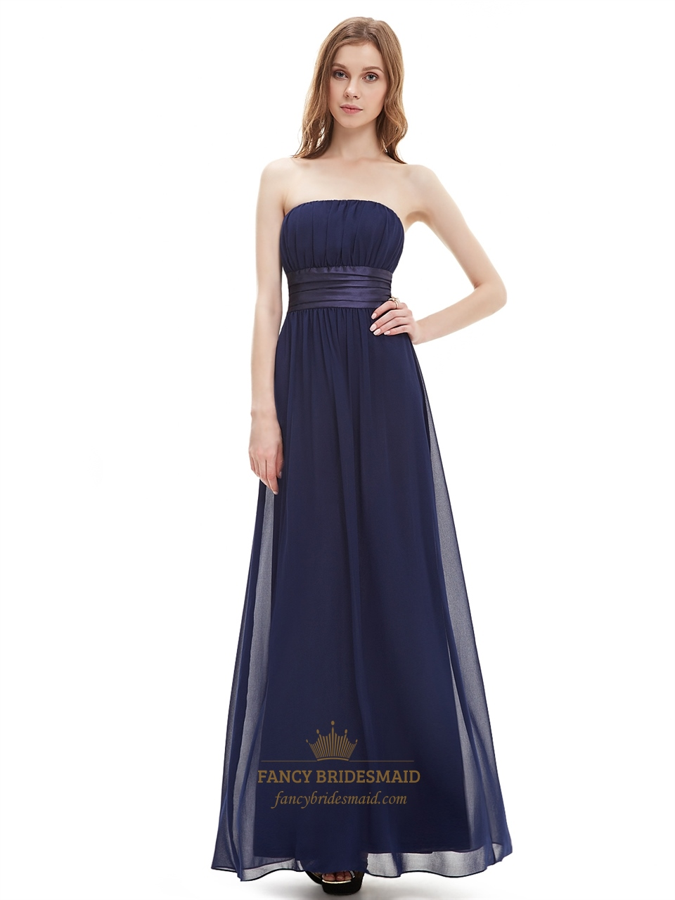 Navy blue strapless floor length chiffon bridesmaid dress for Floor length gowns