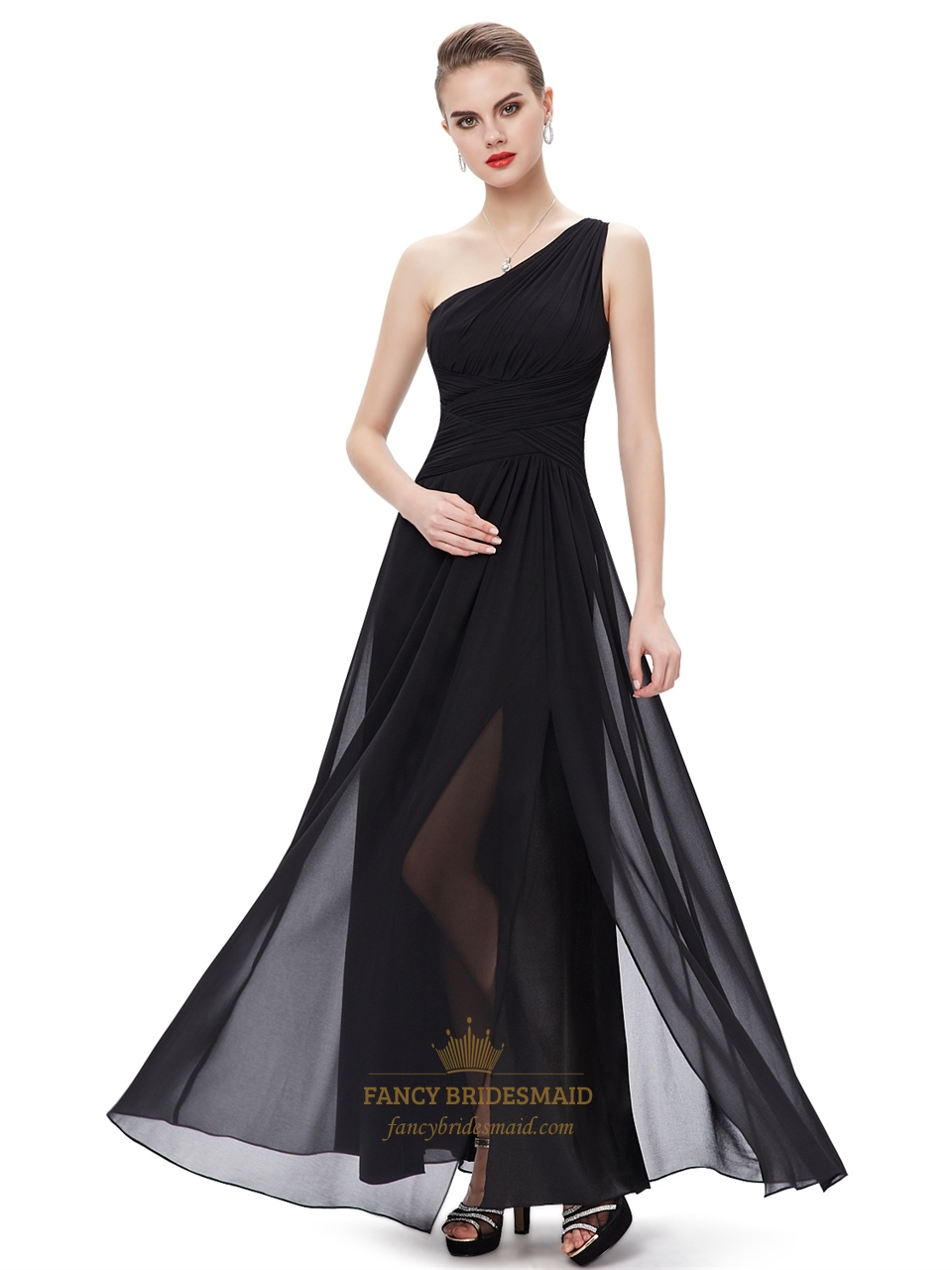 Long flowy chiffon bridesmaid dresses fancy bridesmaid dresses black chiffon one shoulder floor length bridesmaid dresses with split ombrellifo Gallery