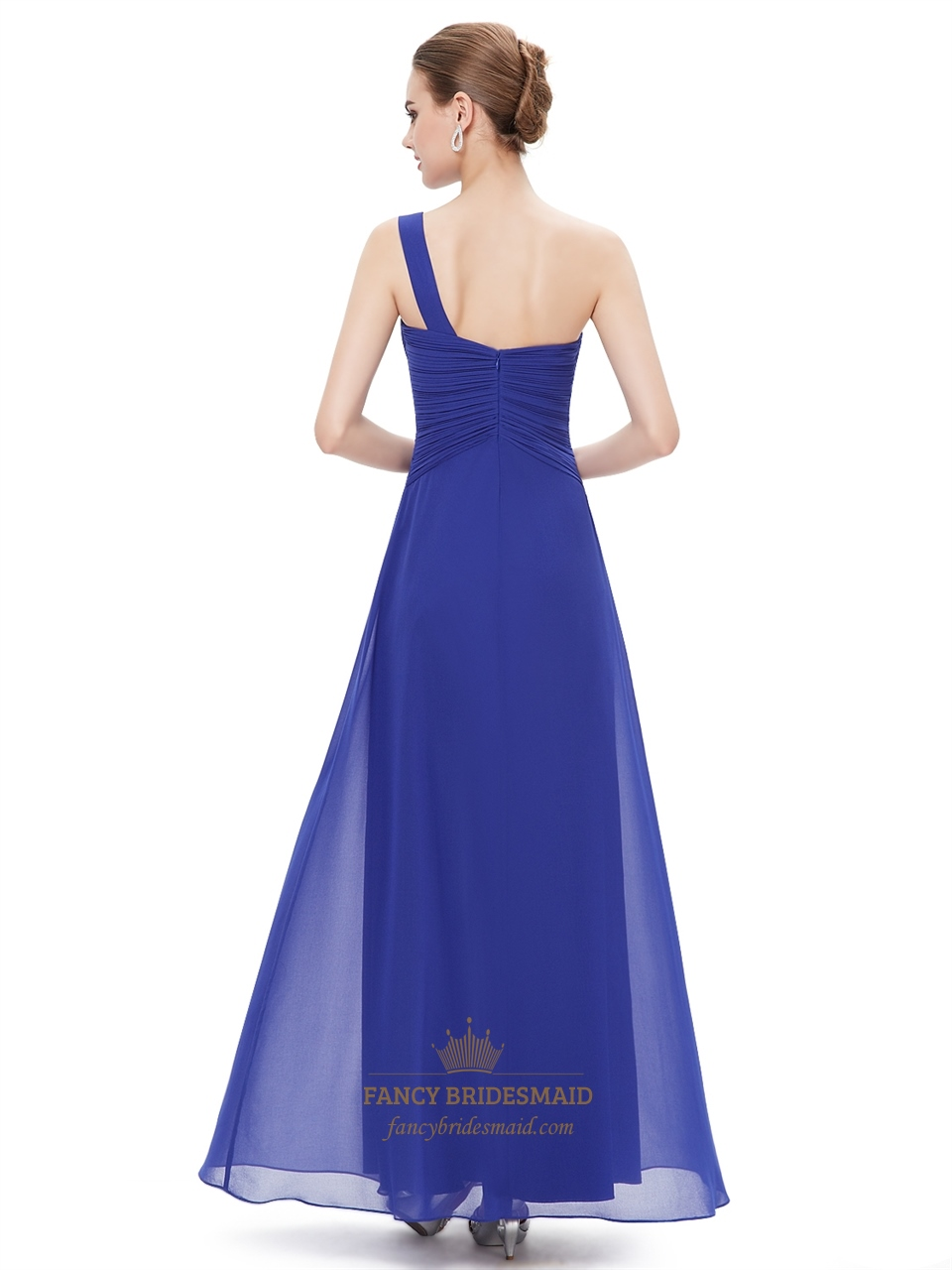 royal blue chiffon one shoulder bridesmaid dresses with