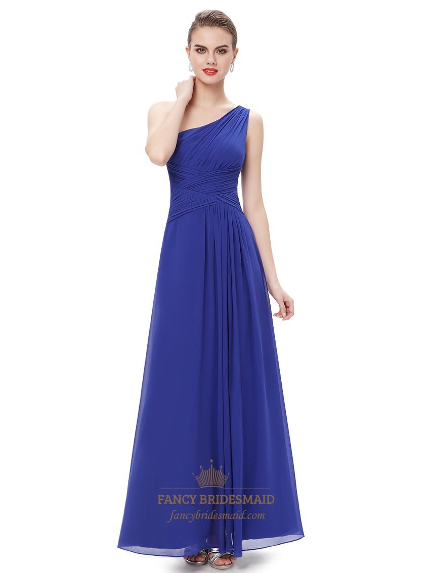 Royal blue chiffon one shoulder bridesmaid dresses with side split - Royal Blue Chiffon One Shoulder Bridesmaid Dresses With Side Split