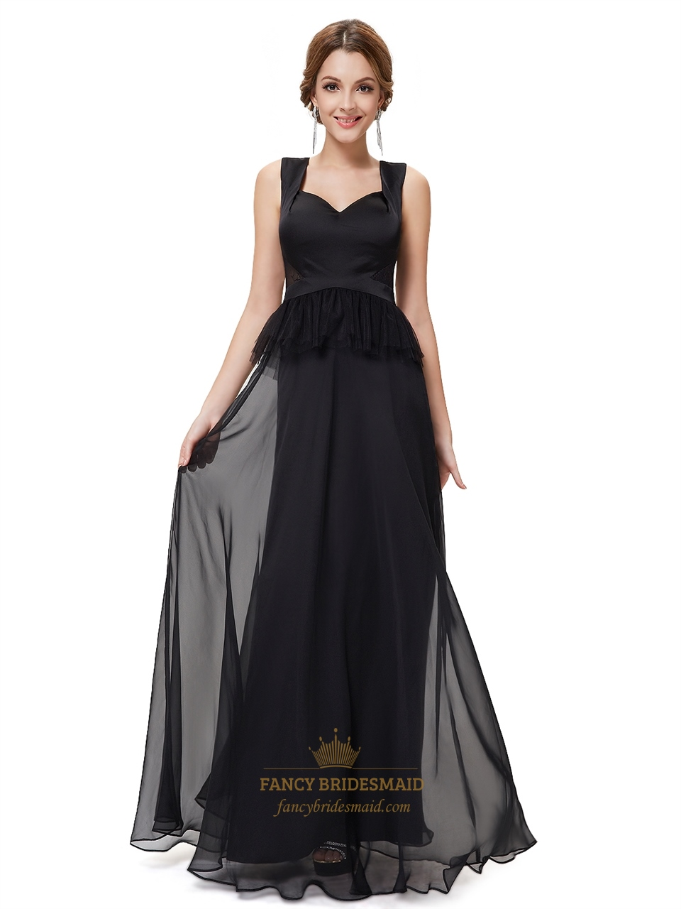 Black Chiffon Embellished Two Tone Prom Dress With Sheer Lace Back ...