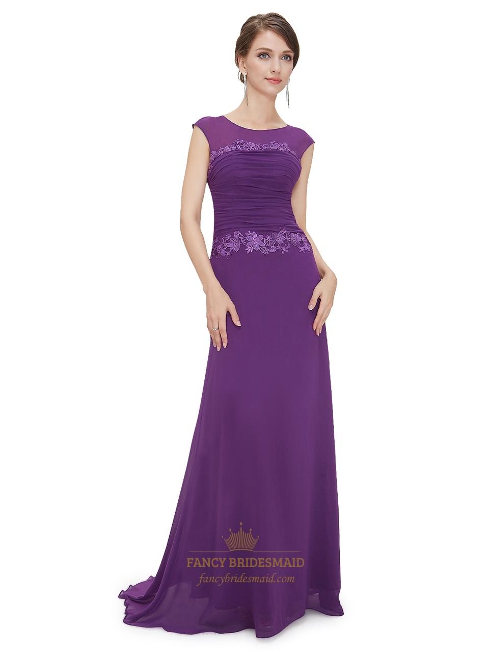 fb0e89067bcb1 Purple Sheath Chiffon Cap Sleeves Prom Dress With Floral Applique ...