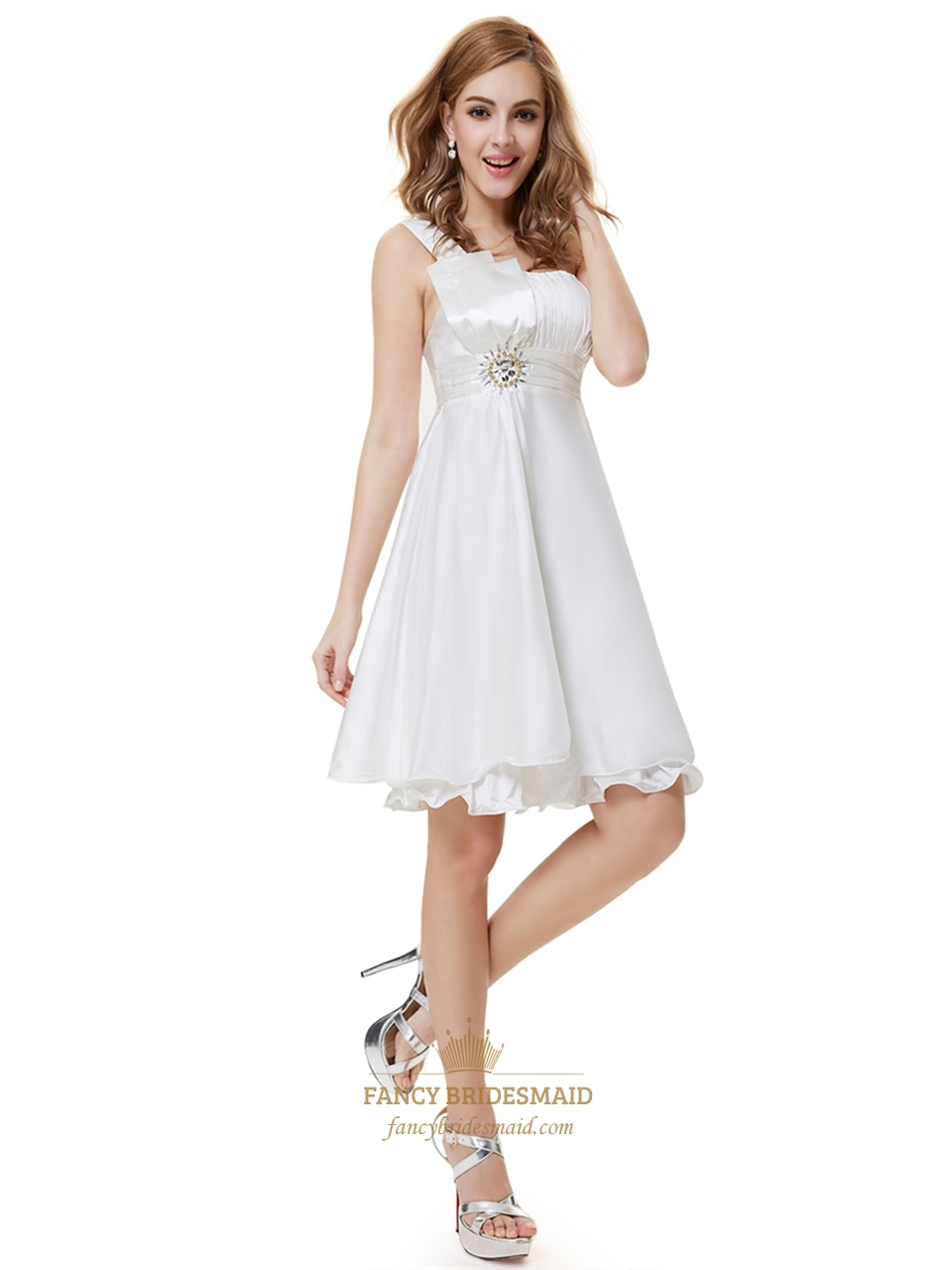 Ivory one shoulder knee length bridesmaid dresses with for Medium length wedding dresses