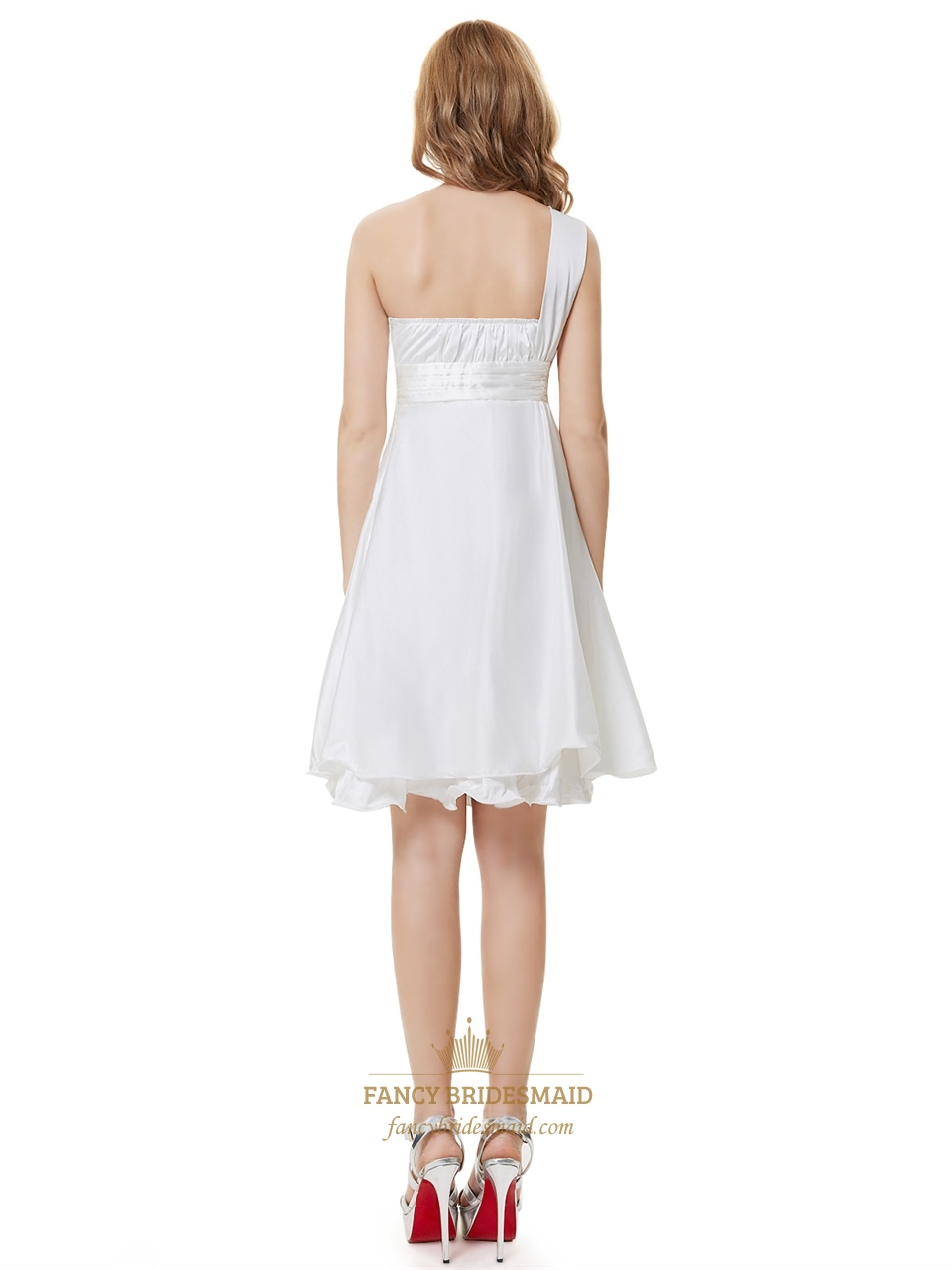 Ivory one shoulder knee length bridesmaid dresses with for Ivory knee length wedding dresses