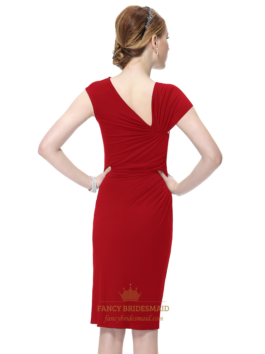 Red Sheath Knee Length Cap Sleeves Cocktail Dress With