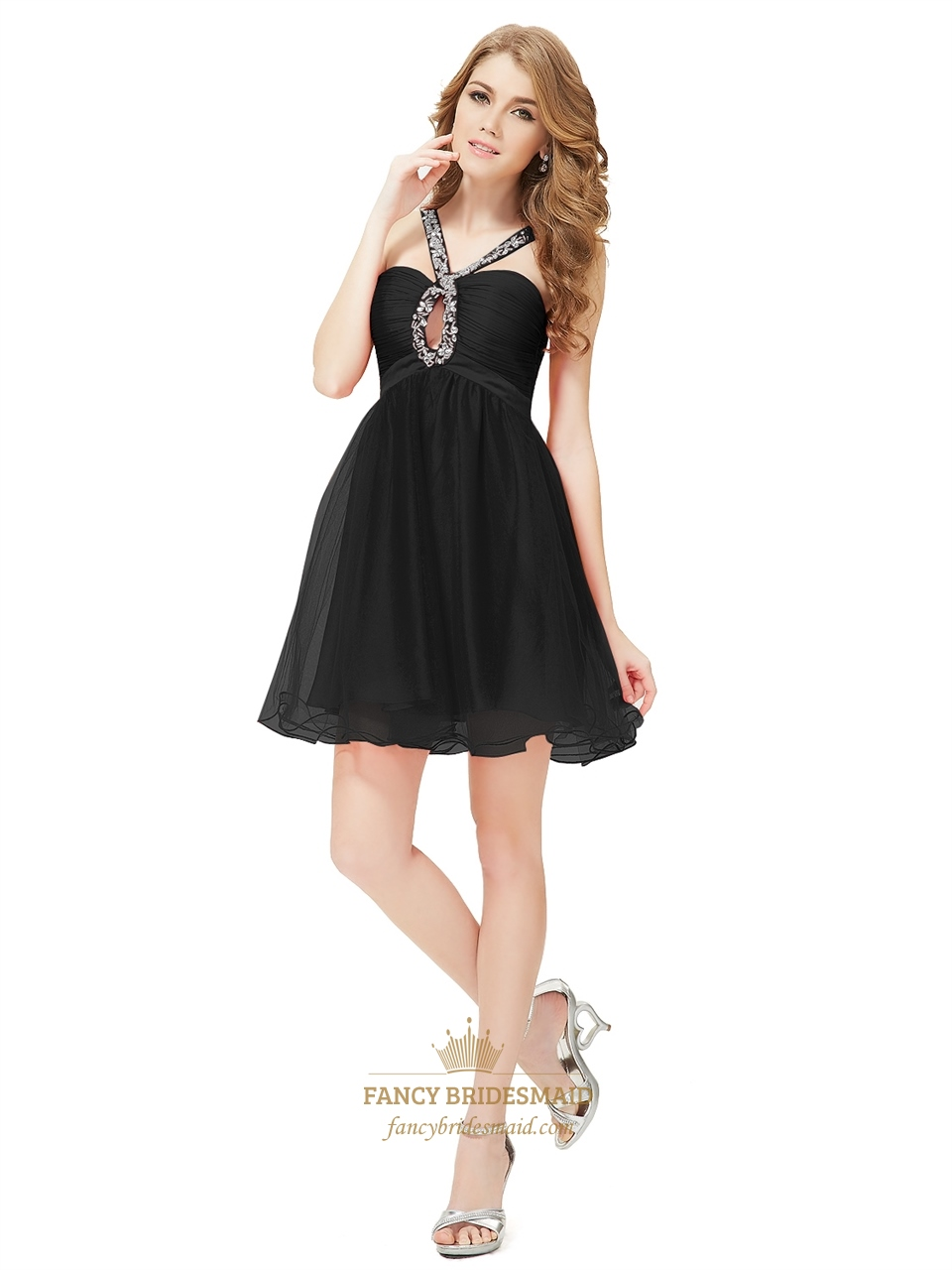 A skater dress silhouette has faux wrap appeal that hugs your curves in all the right ways.