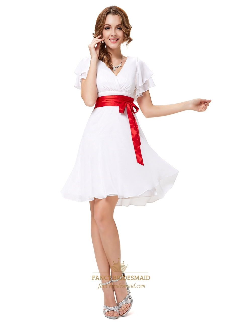 White v neck chiffon flutter sleeves bridesmaid dresses with red white v neck chiffon flutter sleeves bridesmaid dresses with red sash ombrellifo Image collections