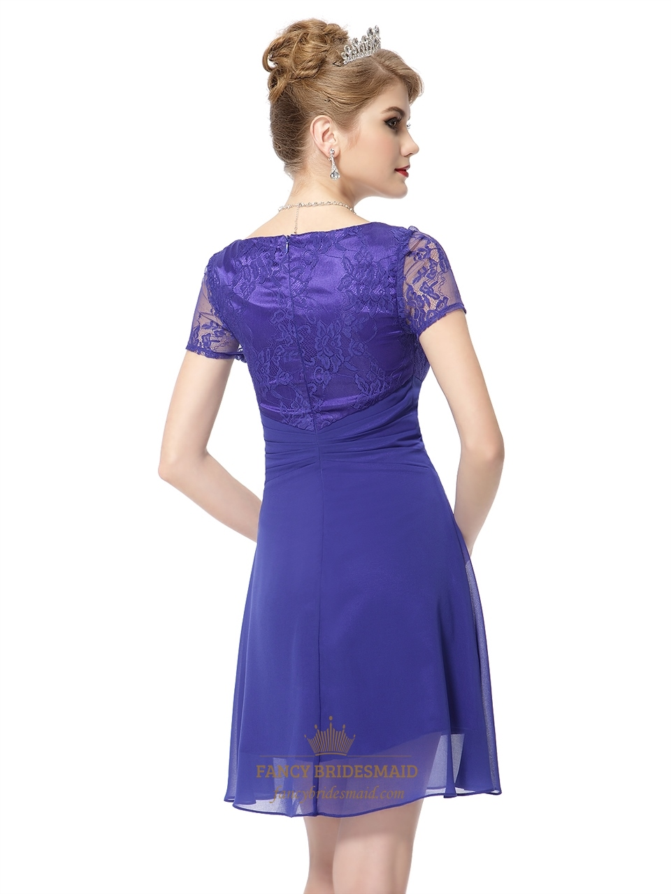 Royal blue chiffon short sweetheart bridesmaid dresses for Royal blue short wedding dresses