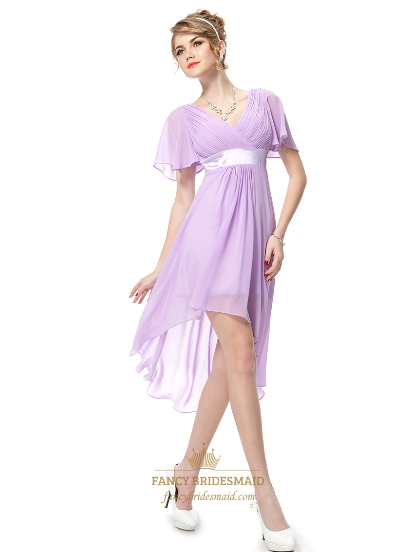 Lilac Chiffon V Neck High Low Bridesmaid Dresses With Flutter Sleeves