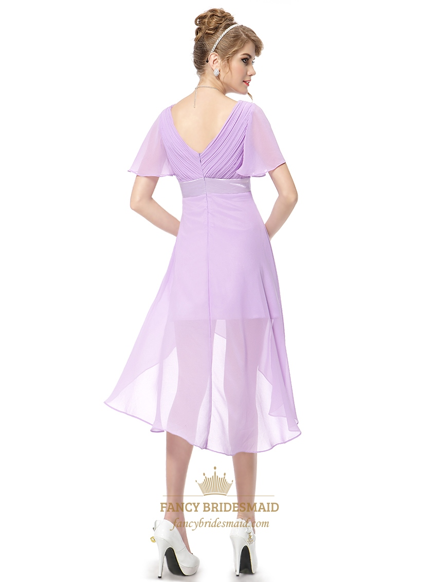 Lilac Chiffon V Neck High Low Bridesmaid Dresses With