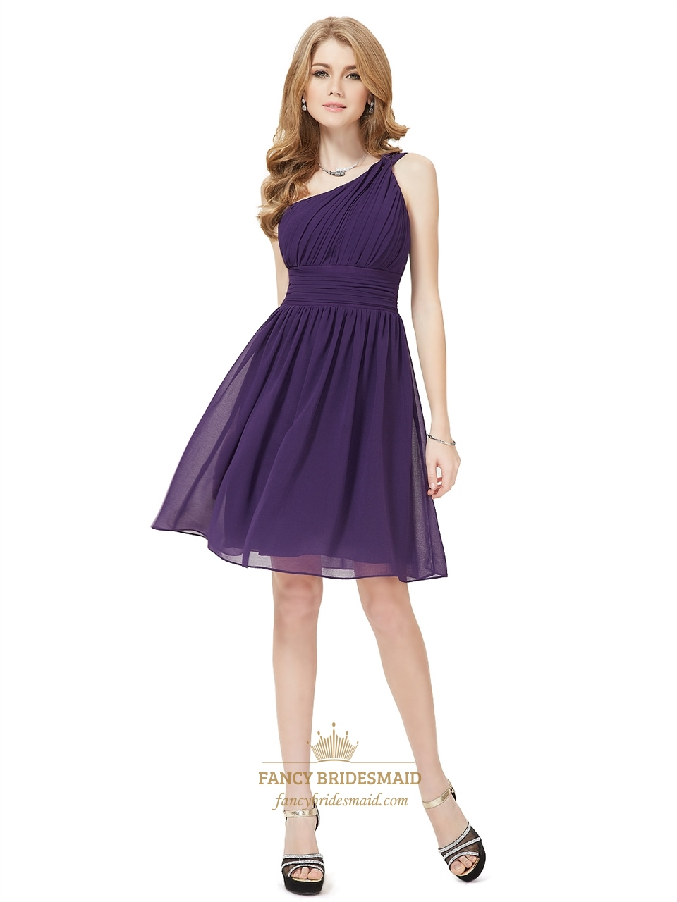 88c1621ea5 Grape Chiffon One Shoulder Knee Length Bridesmaid Dresses With Ruching SKU  -NW1285