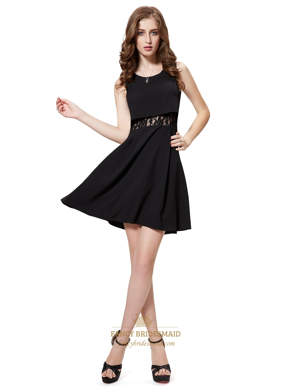 Black Short Embellished Cocktail Dresses With Lace Illusion Waist ...