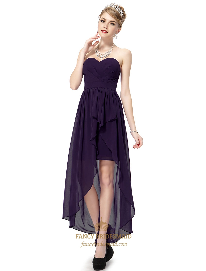 Dark Purple Sweetheart Strapless Chiffon High Low Bridesmaid Dresses ...