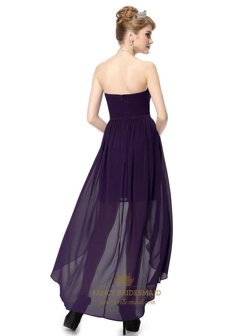 Dark purple sweetheart strapless chiffon high low for Dark purple dress for wedding