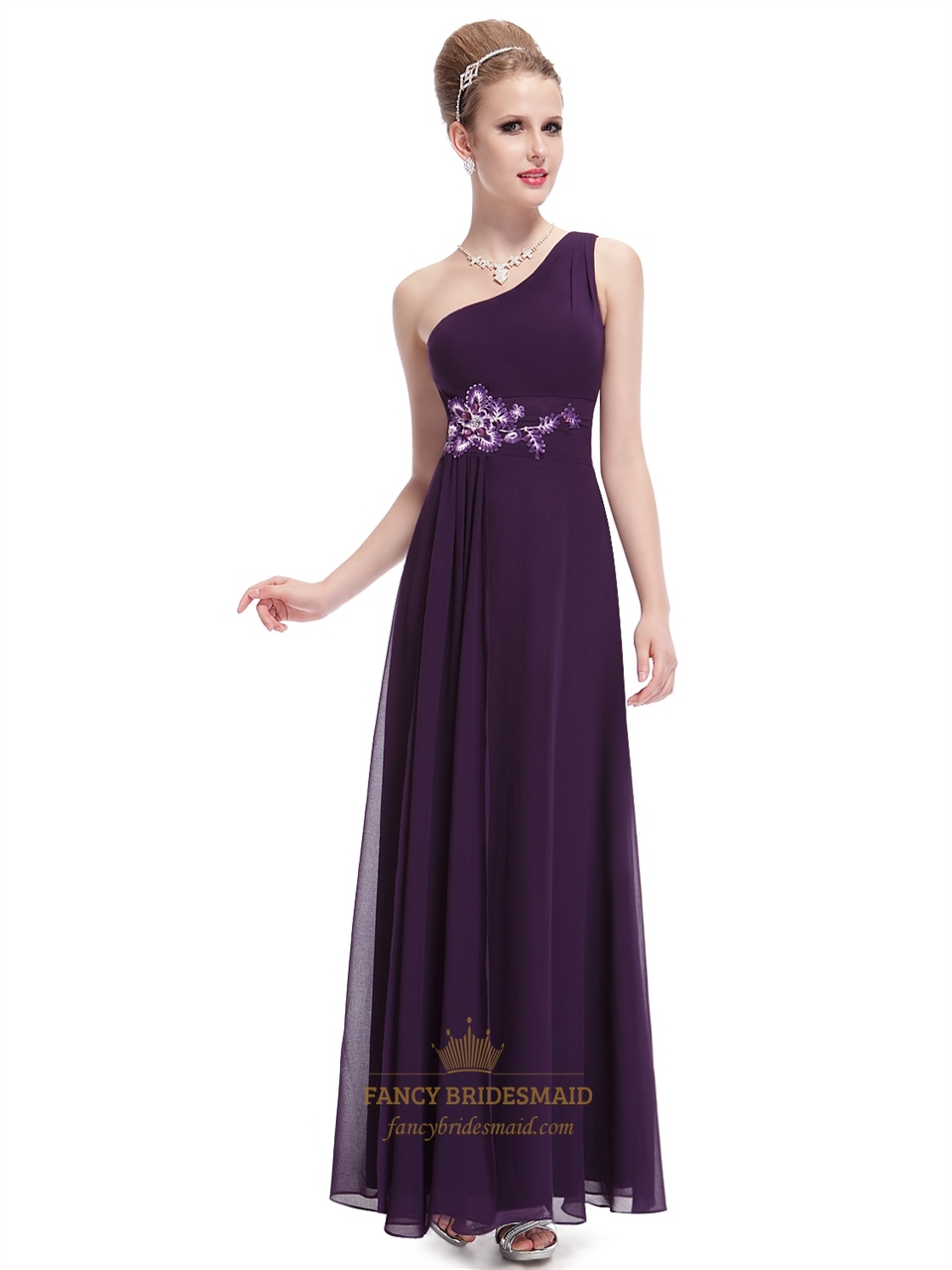 Grape one shoulder chiffon bridesmaid dresses with floral grape one shoulder chiffon bridesmaid dresses with floral appliques ombrellifo Gallery