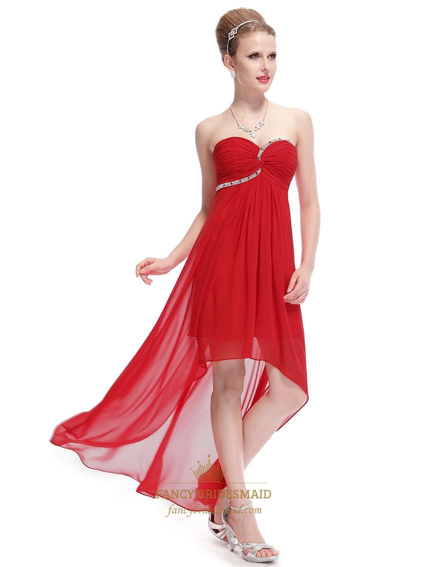 Red chiffon sweetheart high low bridesmaid dresses with for Chiffon sweetheart wedding dress