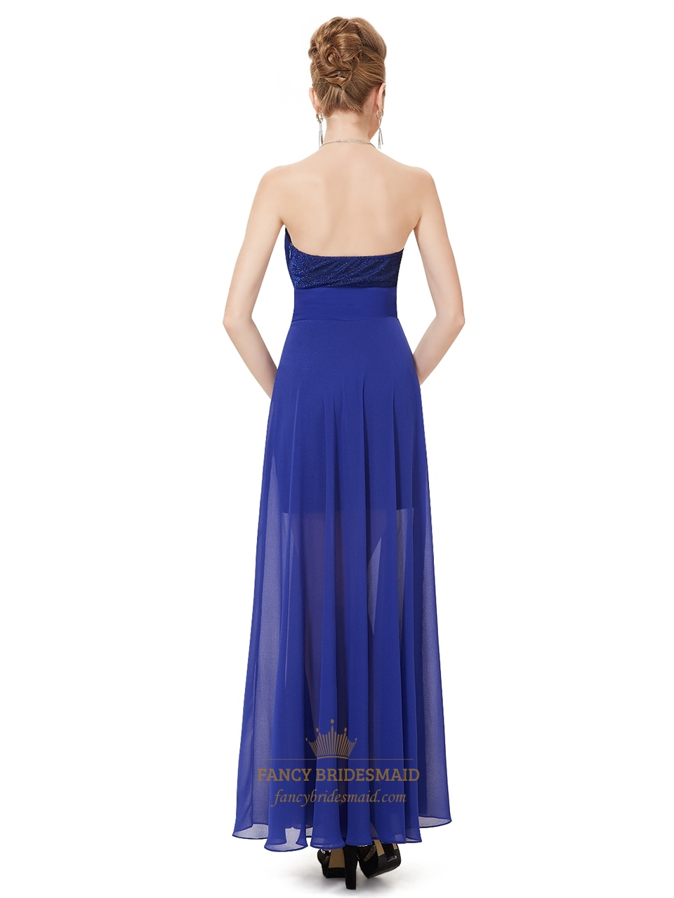 Royal Blue Strapless Chiffon Bridesmaid Dresses With Split ...