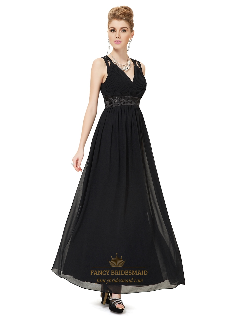 elegant black chiffon v neck long bridesmaid dress with