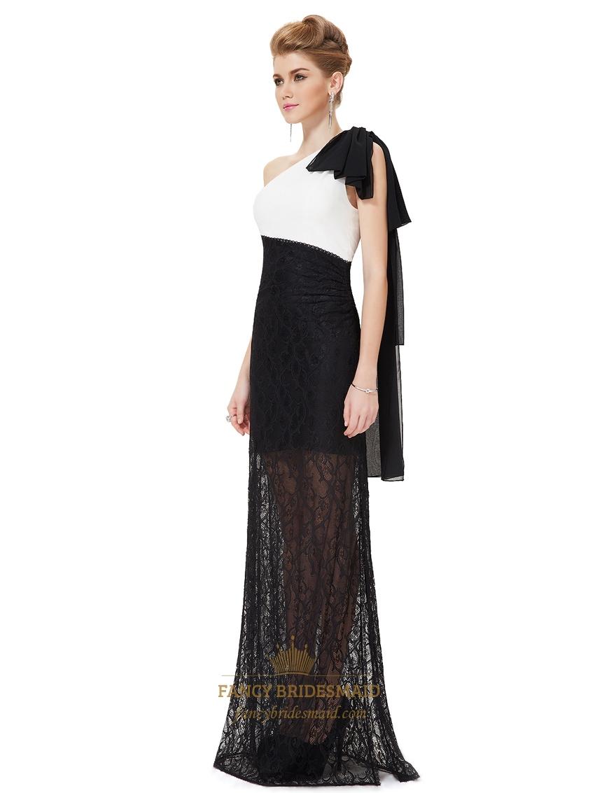Black White One Shoulder Long Formal Dresses