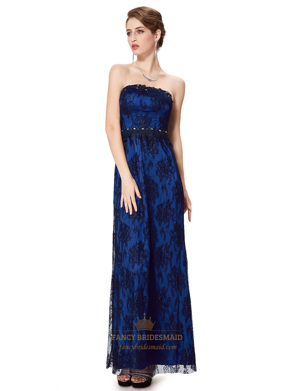 Royal blue and black prom dress fancy bridesmaid dresses for Blue and black wedding dresses