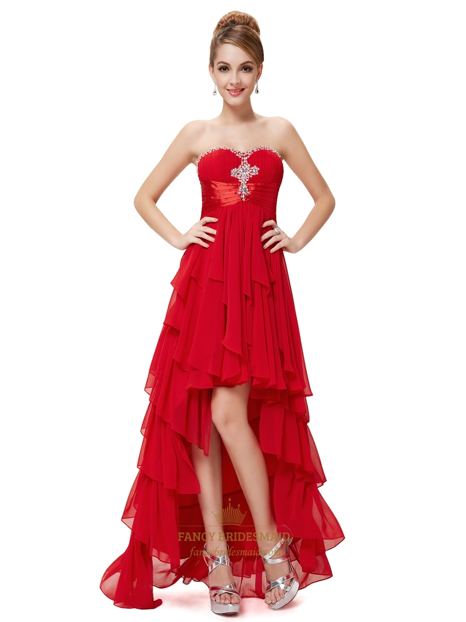 f3ad8e1333 Red Chiffon Sweetheart High Low Ruffled Skirt Prom Dress With Beading SKU  -NW1327