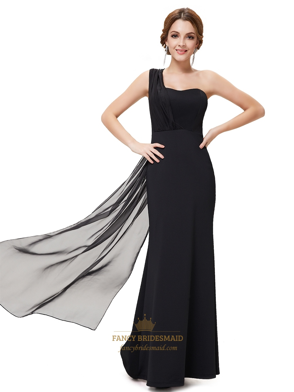 Flowy Black One Shoulder Sheath Chiffon Floor Length