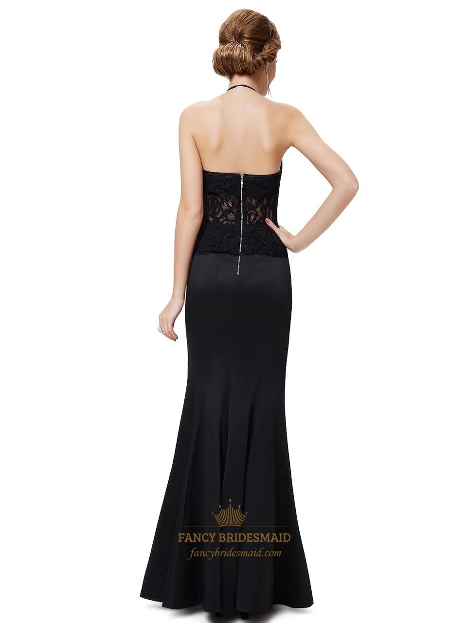 Black Halter Neckline Two Tone Mermaid Prom Dress With
