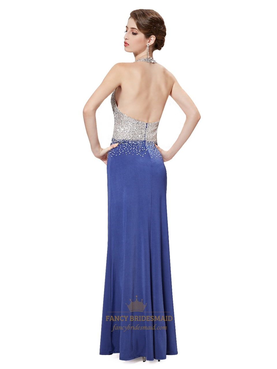 Blue and gold sequin halter sheath side slits prom dress for Sheath wedding dress with beading and side drape