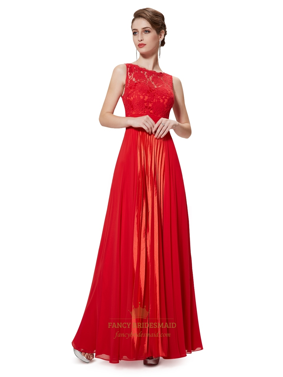 Flowy red chiffon floor length bridesmaid dresses with for Floor length gowns